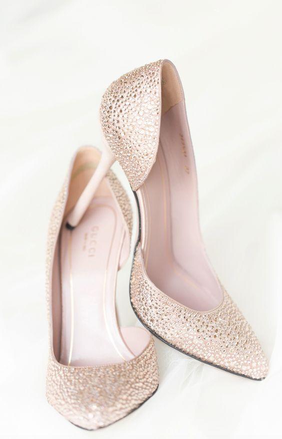 Photographer: Amy & Jordan; Glamorous gold sparkle wedding shoes;