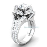 Wish | Fashion Jewelry White Round Engagement Wedding 925 Sterling Silver Ring Rhodium Plated