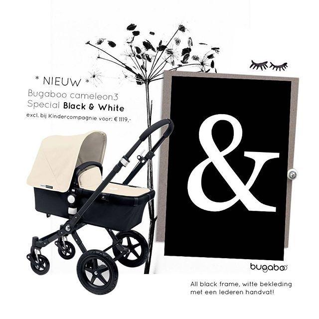 Nieuw! Excl. bij kc! Een black & white Bugaboo met lederen handvat.. @bugaboohq #blackandwhite #kids #stroller #kinderwagen