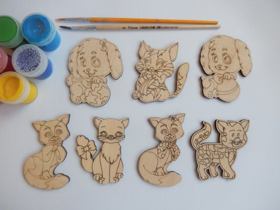 48 best wood shapes for coloring images on pinterest for Dog crafts for adults