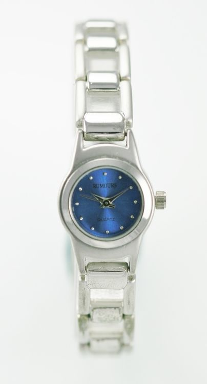 Rumours Watch Womens Silver Stainless Water Resistant Blue Easy Read Quartz