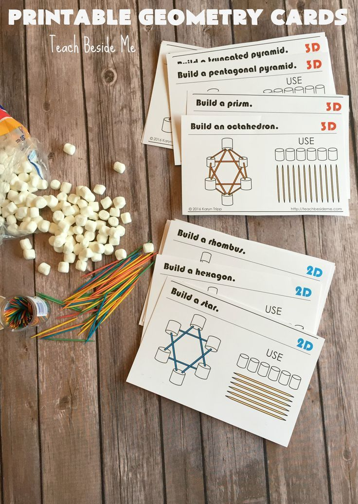 Printable STEM engineering cards!Build geometric shapes with marshmallow and toothpicks.