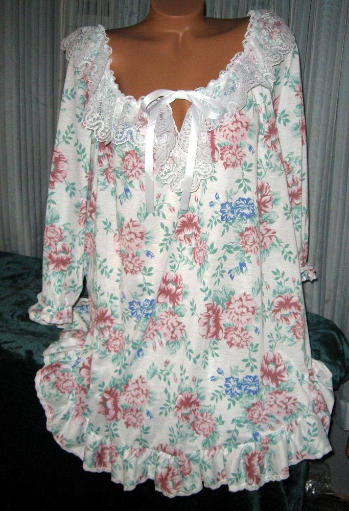 Burgundy Green White Floral Sleep Shirt 1X 2X 3X Poet Shirt Ruffle Hem Nightgown