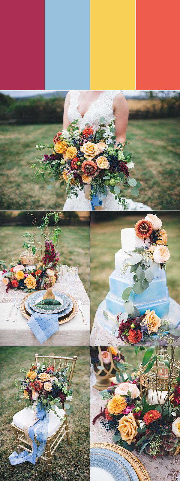 Allow the spirit of the harvest to dictate your wedding colors with vibrant and warm hues like marigold and pumpkin. When juxtaposed with a cool shade of dusty blue, your beloved burgundy really pops!