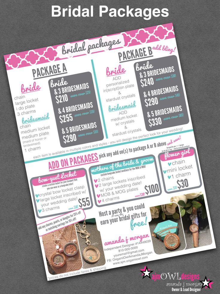 Bridal Package Graphic/Flyer (US & CANADA) – Personalized w/ Designer Info – Origami Owl Inspired by ajmOWLdesigns on Etsy