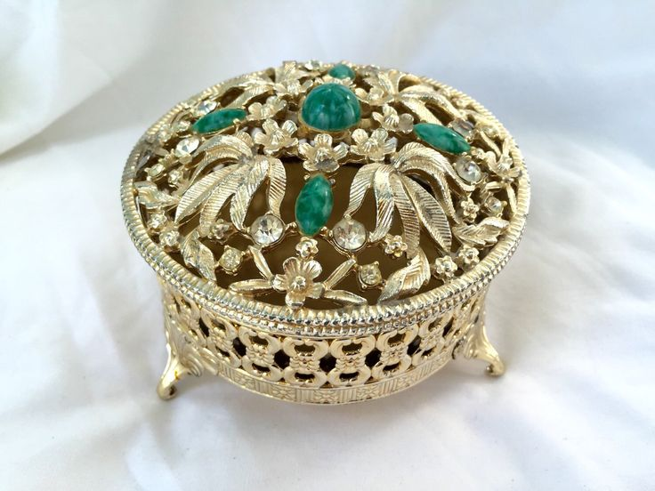 A personal favorite from my Etsy shop https://www.etsy.com/ca/listing/245619097/gold-vanity-jar-vintage-gold-filigree