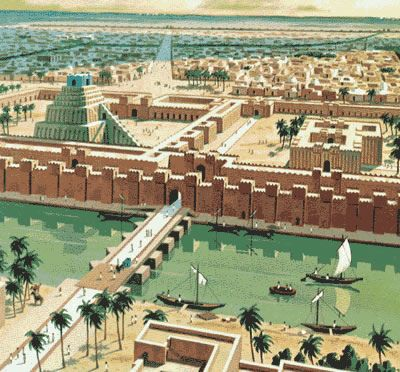 Babylon    , the old area called Mesopotamia, originally known as Sumer, and later as Sumer and Akkad, lies between the rivers Eufrat and Tiger, south of Baghdad today. The Babilonian civilization, between 18 BC sec and 6 BC,  was like the Sumerian one that preceded it, with urban characteristics, although based on agriculture. The kingdom was composed of about 12 towns surrounded by villages.