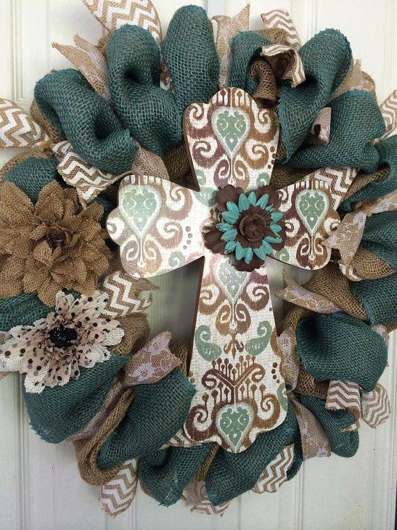 Gorgeous Burlap Cross Wreath