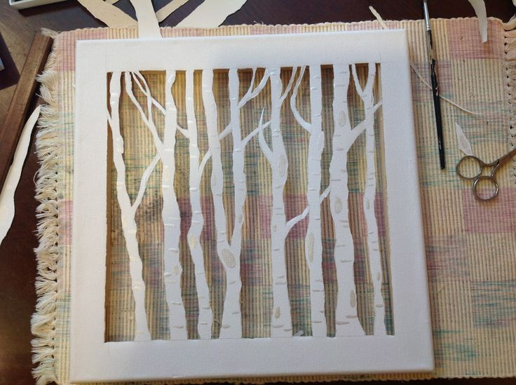 The Sandalwood Box: Birch Trees Canvas Cutout