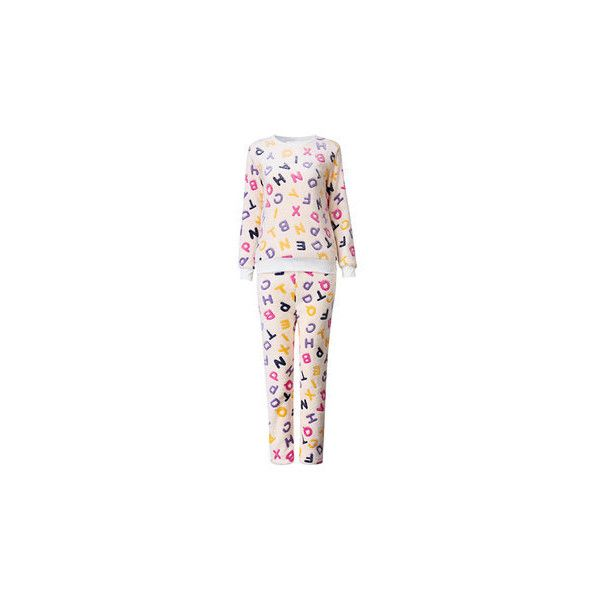 Comfy Flannel Printing Long Sleeve Thick Coral Velvet Sleepwear Sets... (£12) ❤ liked on Polyvore featuring intimates, sleepwear, pajamas, white, flannel pajamas, flannel sleepwear, flannel pyjamas, long sleeve pyjamas and long sleeve sleepwear