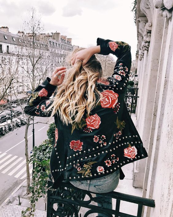 rose embroidered leather jacket