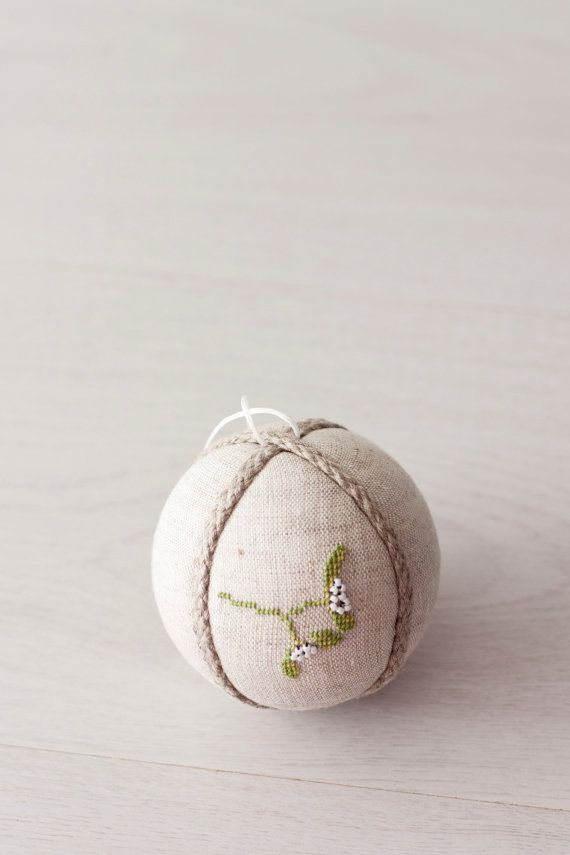 Christmas Ornament, Decoration christmas tree ball  natural linen covered with cross stitch picture