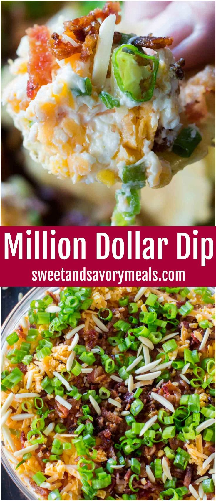 Million Dollar Dip is the best cheese dip that you can make! Layers of creamy cheese, sharp cheddar cheese, bacon, slivered almonds and green onions! #cheese #cheesedip #appetizer #partyfood #milliondollardip