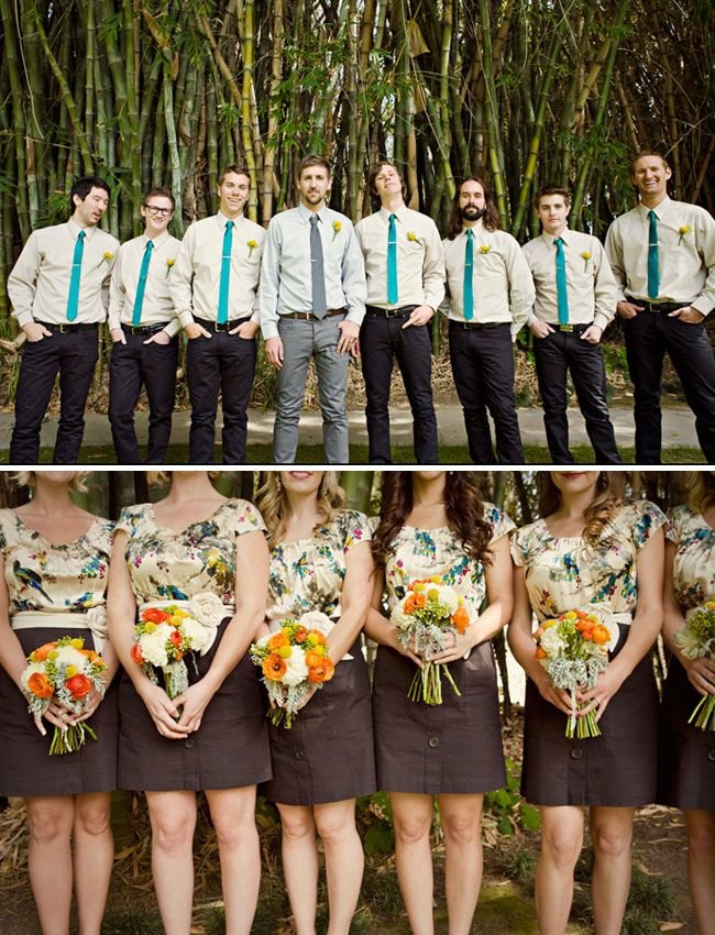 Terrific look here.  The dark skirts with the floral tops allow a relaxed, non formal look for this wedding.  Obviously color was important, and look at how it pops against the dresses.  Nice.