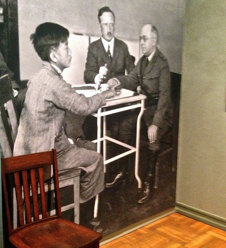 To enforce the Chinese Exclusion Act, field offices were set up to interview and collect data on each immigrant.  American inspectors probed each Chinese person entering the U.S.  Inspectors attempted to place barriers to their entree.  The Bureau of Immigration kept a file on each person.  (The New York Historical Society Chinese Exclusion Act Exhibit.)