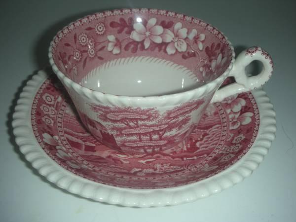 Vintage Copeland Spodes Tower Red China Teacup & Saucer | eBay