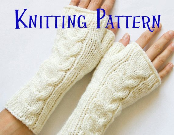 PDF Knitting Pattern - Cabled Fingerless Gloves, Cabled ...