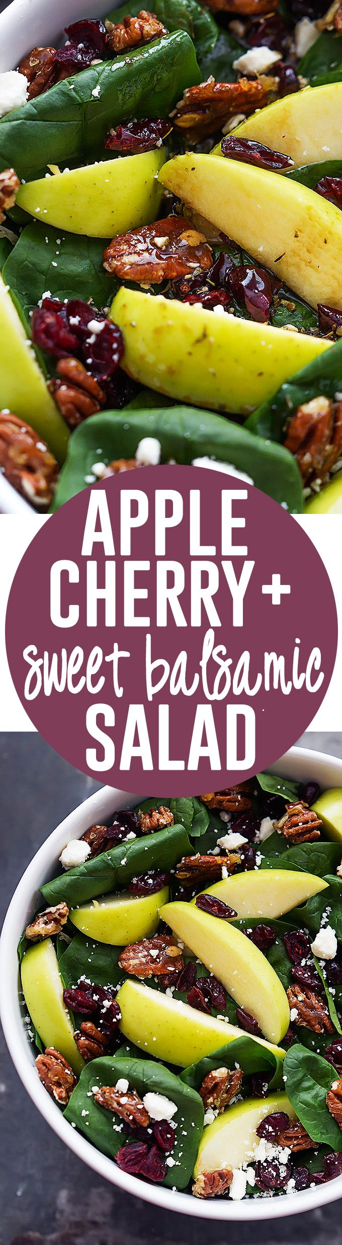 Apple Cherry Candied Pecan Salad with Sweet Balsamic Dressing | Creme ...