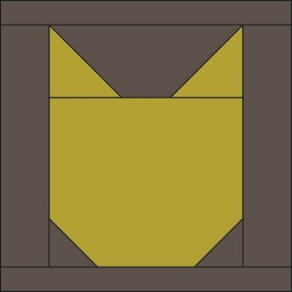 Via Oh Fransson blog: cat face basic quilt block. Sells full quilt pattern w/ alternate patchwork face blocks.