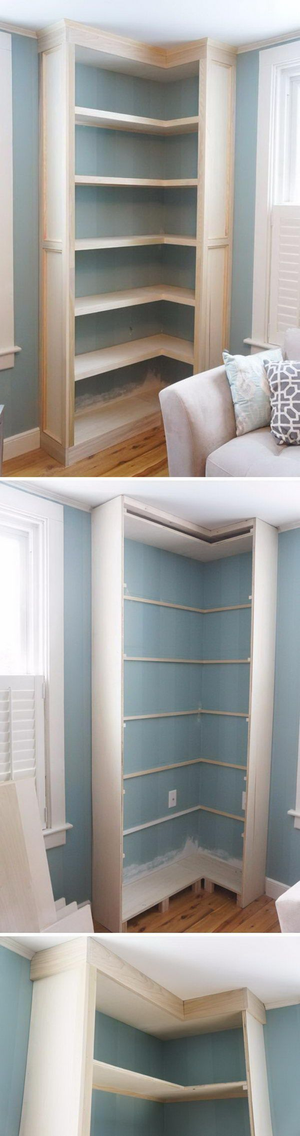 DIY Built in Corner Shelves.