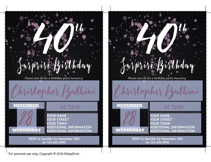 Best Surprise Birthday Invitations Ideas On Pinterest - Editable birthday invitations for adults