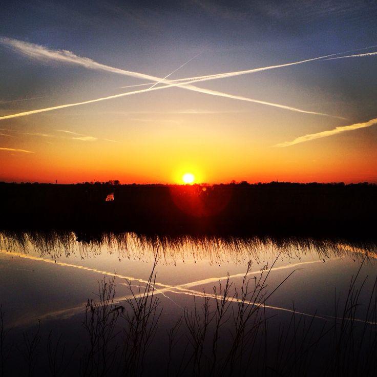 Double sunset reflection #netherlands / friesland / weidum