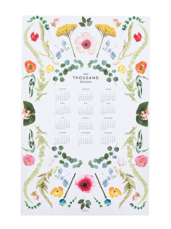 2014 Scandinavian floral calendar by HouseThatLarsBuilt on Etsy, $28.75