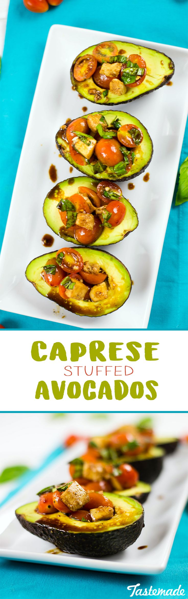 Avocados make the perfect natural bowls for a simple Italian salad.
