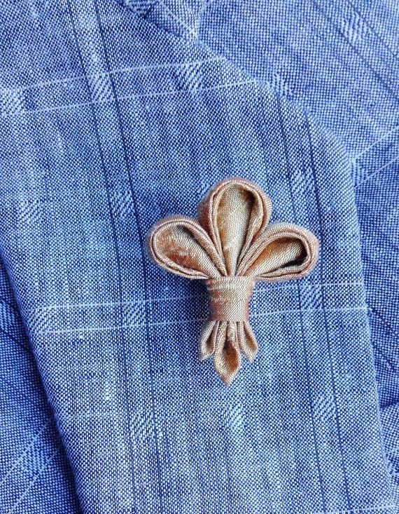 Mens Lapel Flower Pin Kanzashi Fleur de Lis by exquisitelapel