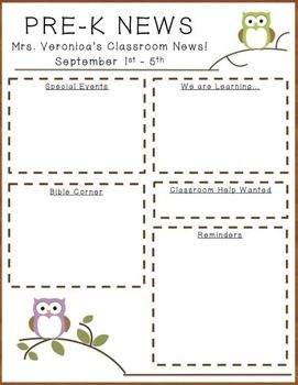 FREE Owl Newsletter Template from Teachers Pay Teachers