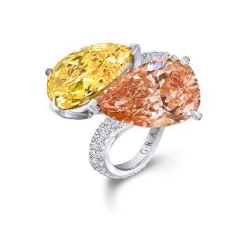 Rosamaria G Frangini   High Yellow Jewellery   Graff Pear Shape Yellow and Orange Pink Diamonds Twist Shank.