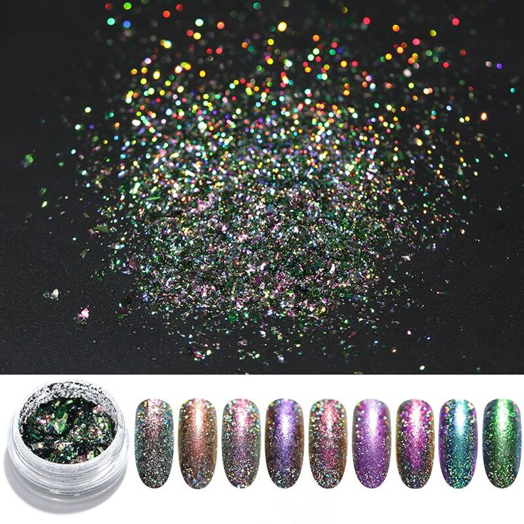 Chameleon Holographic Nail Glitter Powder Shiny Laser Glitter Sequins Tips 3D Na… – Gel Nails