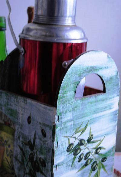 Большая корзина для бутылок в стиле шебби шик