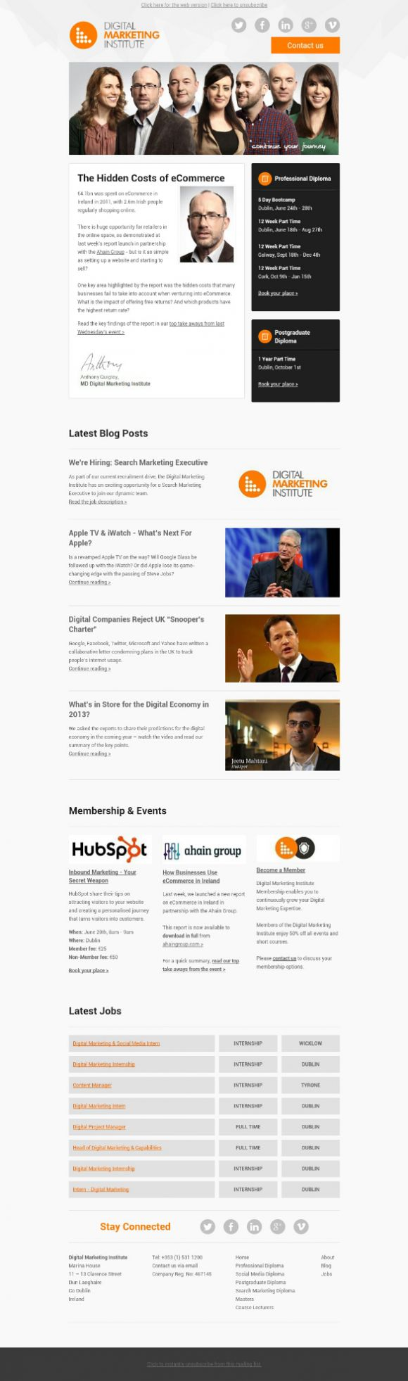 Beautiful Email Newsletters » Blog Archive The digital marketing institute » Beautiful Email Newsletters