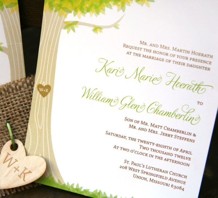 second wedding invitations wording%0A Wedding  Handmade Tree Wedding Invitation Wording Template Green Brown Text  Wedding Invitation