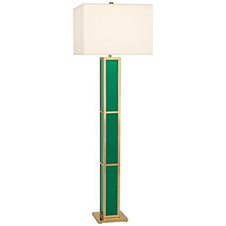 This contemporary floor lamp offers the lovely combination of emerald green and polished brass with a square fondine fabric shade.