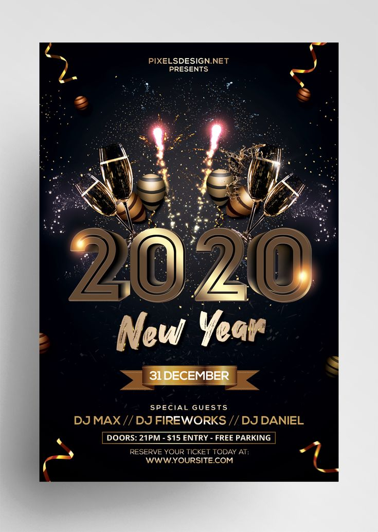 2020 New Year Eve Free PSD Flyer Template Free psd flyer