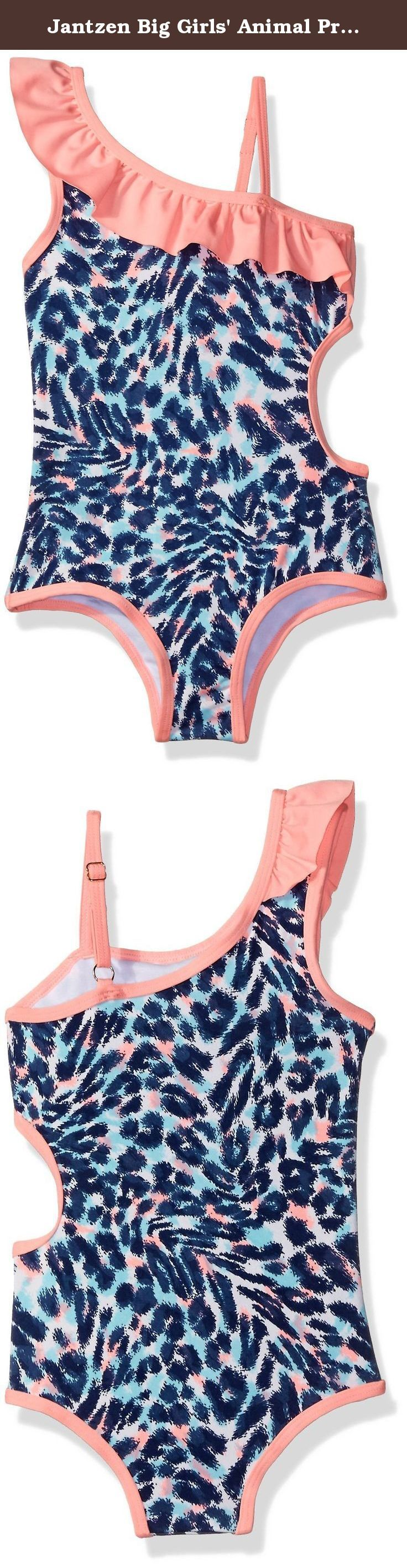 Jantzen Big Girls' Animal Print One Piece Swimsuit, Coral, 12. Animal-print one-piece with side cut out and shoulder styling with ruffles.
