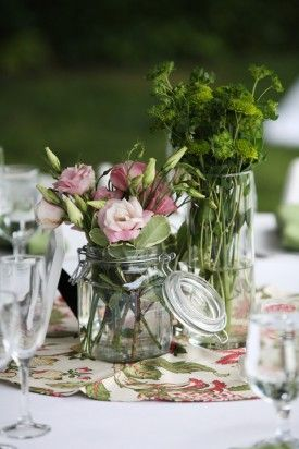 Rustic centerpiece idea. Pattern cloth could jazz things up since our linens and plates will be all solid colored.