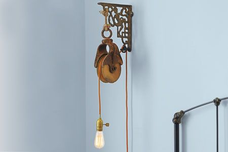 how to use a barn pulley to make a wall mount light fixture