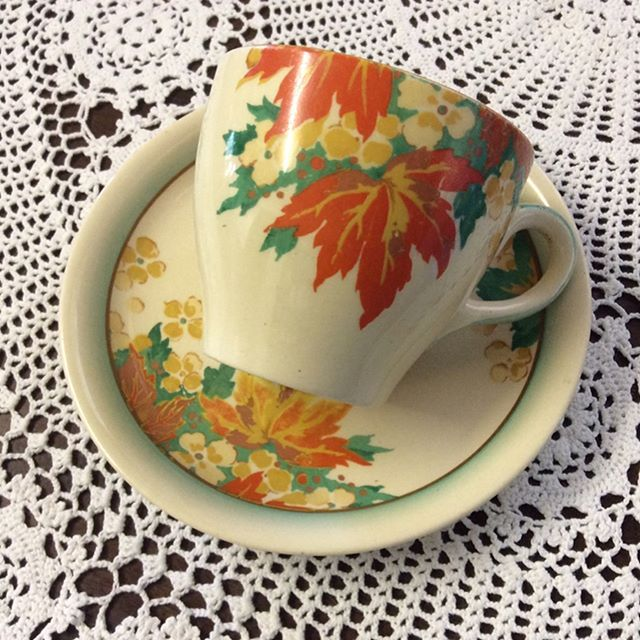 """$20 Teacup and saucer in Gorgeous autumnal tones.  By Royal Doulton""""maple"""" pattern in a delicate ceramic.  Comment """"SOLD"""" to purchase. Price is + postage or collect from Toowoomba.  #oldwares #collectables #collectablesforsale #vintagedecor #vintagedecorating #vintagekitchen #vintagekitchendecor #vintageforsale. #vintagehome #vintagehomedecor #vintagelove #royaldoulton"""