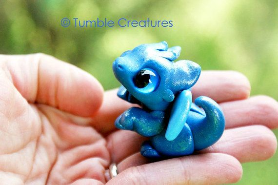 Blue Baby Dragon 'Saphire' by TumbleCreatures on Etsy