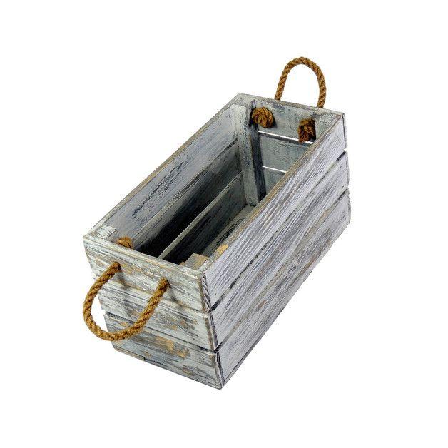 Skrzyneczka drewniana ozdobna 15x31 Biało Szara - marka LAAU - Skrzynki i pudełka. Shabby chic.