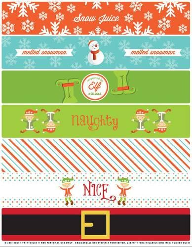 """OL435 - 8.1875"""" x 1.375"""" - Assorted Christmas Themed Water Bottle Labels Printable"""
