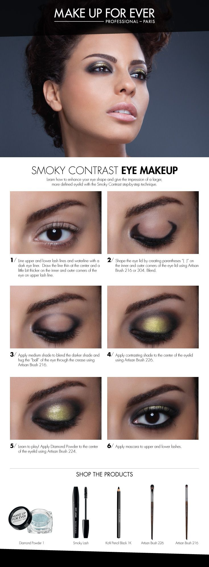 Smoky Contrast Eye Makeup - use this technique to give the illusion of a larger, more round and defined eye. #HowTo courtesy of #Makeupforever #Sephora #makeuptutorial #smokyeye