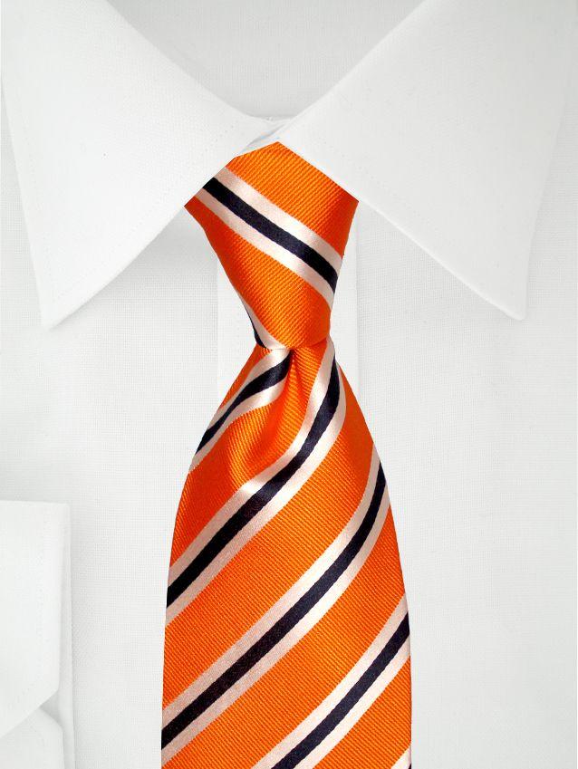 Orange Krawatte mit Streifen in blau und weiß