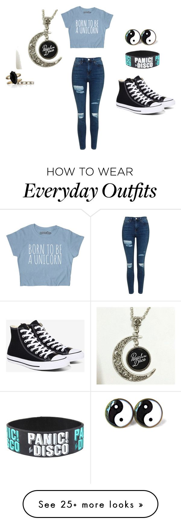 """Causal Everyday outfit"" by thefandombunny on Polyvore featuring Topshop, Converse and Chloe + Isabel"