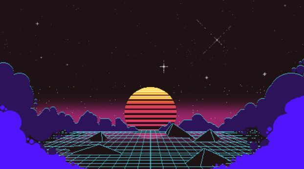 Outrun Pixel Sunset Sunset Wallpaper Retro Pictures Wallpaper