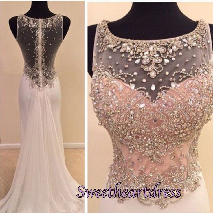 Elegant round neck white chiffon mermaid prom dress with beautiful top details, ball gown, prom dresses for teens #coniefox
