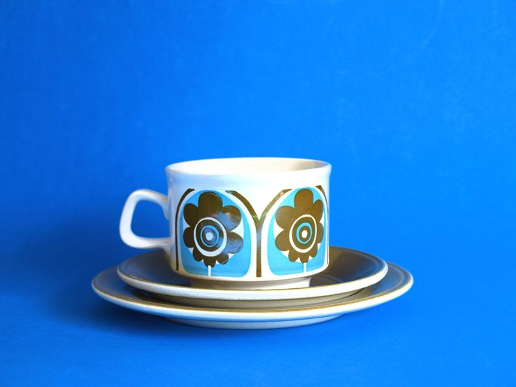 Staffordshire Potteries Turquoise Flower Power Tea Cup Trio - Vintage Retro 1970 Teacup & Saucer - Made in England by FunkyKoala on Etsy
